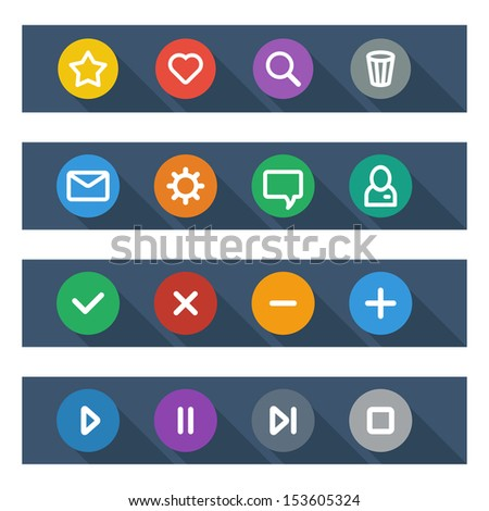 Flat UI design elements - set of basic web icons in colorful circles. Vector illustration.