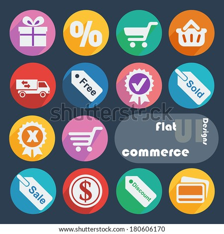 Flat ui design icons - Commerce. - stock vector