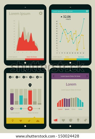 Flat ui design infographic template with charts, diagrams and statistics - stock vector