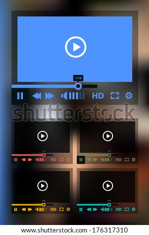 Flat ui design media player application template with modern mesh defocused blurred background, EPS 10 - stock vector