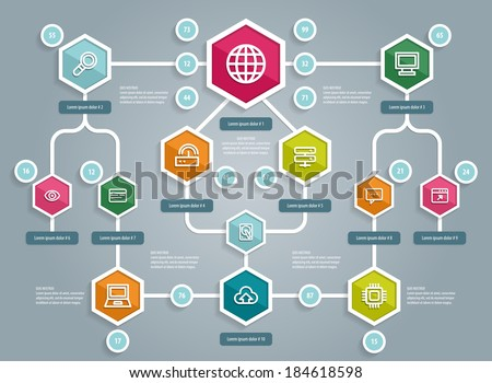 Flat UI Design. Social network mapping. Vector eps 10. - stock vector