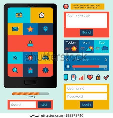 Flat UI design. Vector illustration. Icons set in trendy color with abstract simple mobile phone. Buttons, windows and other interface items.