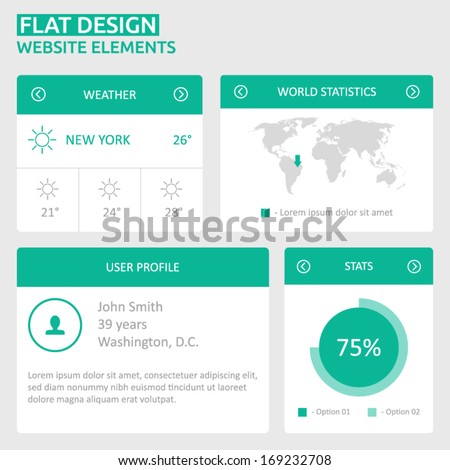 Flat UI design website elements - world map, user profile, stats, weather - stock vector