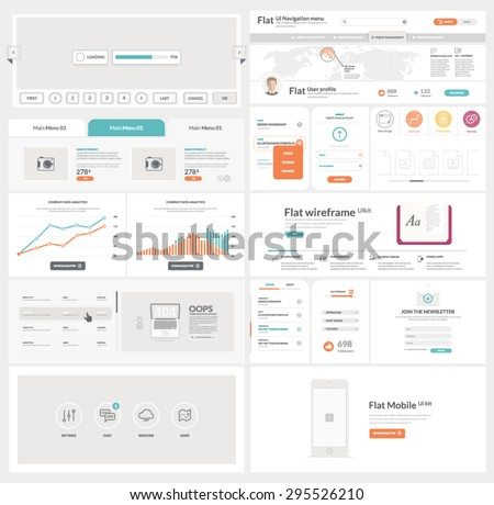 Flat UI kit template for website, mobile and business with icons - stock vector