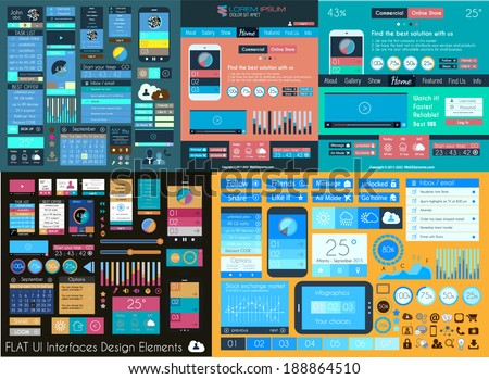 Flat UI Mega Collection: Icons, web forms, Headers, Footers, Smartphones, Computers, tablet, web template, business, infographics and so on. - stock vector