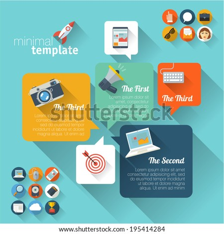 Flat UI vector template. - stock vector