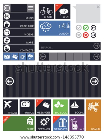 Flat user interface elements and icons - stock vector