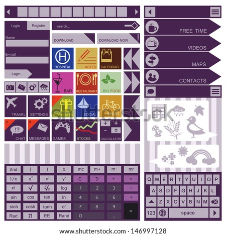 Flat User Interface Elements. Calculator. Icons - stock vector