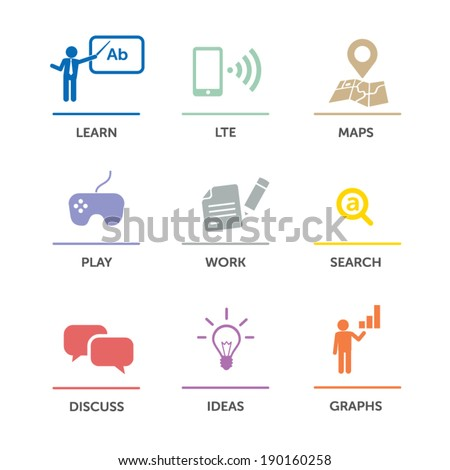 Flat user interface menu: learn, LTE, navigation, games, work, search, discuss, ideas, graphs... Infographic illustration - modern pastel flat colors - stock vector