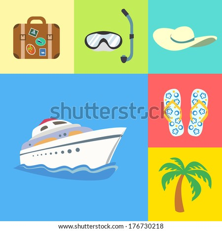 Flat vacation holidays and travel icons set of yacht palm tree flip-flops and hat vector illustration - stock vector