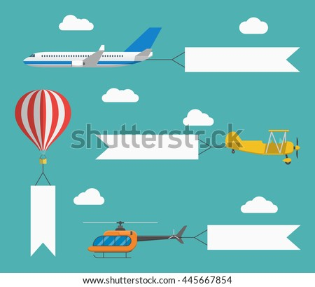 Flat vector airplane, helicopter, biplane and hot air balloon with flying advertising banners. Template for text. Concept for web banners, promotional and printed material - stock vector