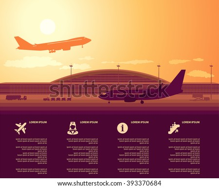 flat vector airport main terminal with infographic elements templates - stock vector