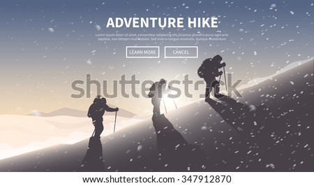 Flat vector banner on the theme of Climbing, Trekking, Hiking, Mountaineering. Extreme sports, outdoor recreation, adventure in the mountains, vacation. Achievement. The Alps.   - stock vector