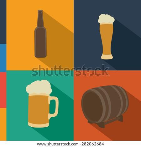 Flat vector beer bottle, glass, mug, barrel - stock vector