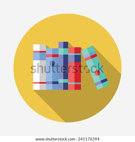 Flat vector Book Icon with Long Shadow - stock vector
