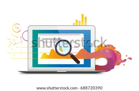 Vector Illustration Business Analysis Report Laptop Stock Vector