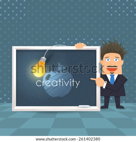 Flat Vector Businessman or Teacher Presentation Creativity Concept, Blackboard and Bulb Infographics or Education Design - stock vector