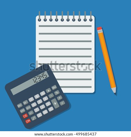 Flat vector calculator, notebook and pencil. Business background