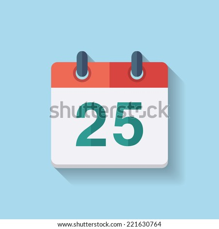 Flat vector calendar icon with the date 25th - stock vector