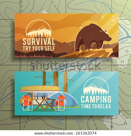 Flat vector camping  banners on the subject of wilderness survival, camping, travel, etc.. Quality design illustrations, elements and concept. Flat design. - stock vector