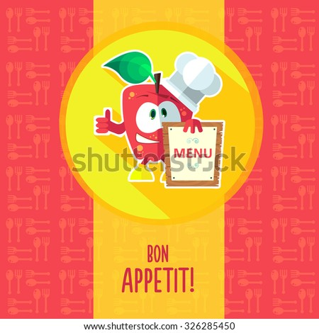 Flat vector card with chef cartoon apple and kitchenware