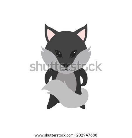 Flat vector cartoon illustration of cute wolf posing isolated on white - stock vector