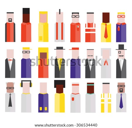 Flat vector character set illustration - stock vector