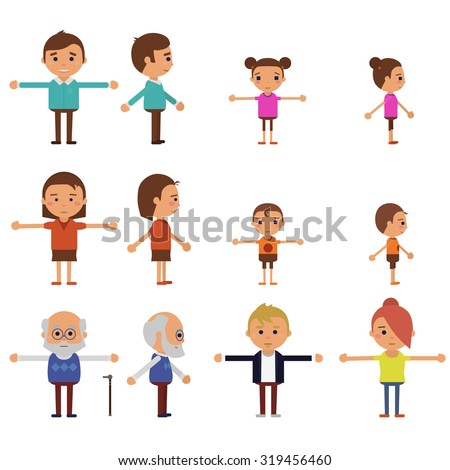 Flat vector characters for animation - stock vector