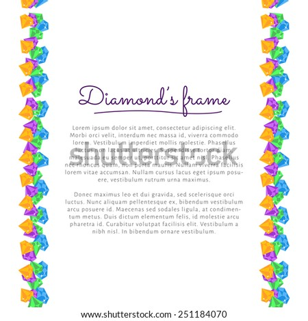 Flat vector circle frame border with Diamond, gemstones - stock vector