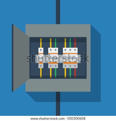 Flat Vector Circuit Breakers On Switchboard Stock-Vektorgrafik ...