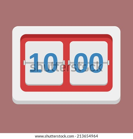 Flat vector clock icon, timetable - stock vector