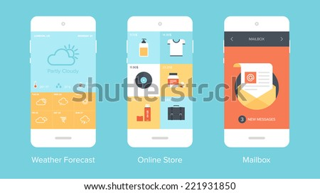 Flat vector collection of modern mobile phones with different user interface elements. - stock vector