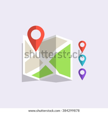 Flat vector colored location icon delivery set  markers - stock vector