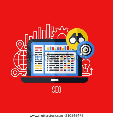 Flat vector concept of search engine optimization (SEO). Creative design elements for websites, mobile apps and printed materials - stock vector