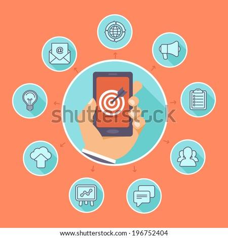 Flat vector concept - SEO symbols, internet marketing design elements and online business signs - stock vector