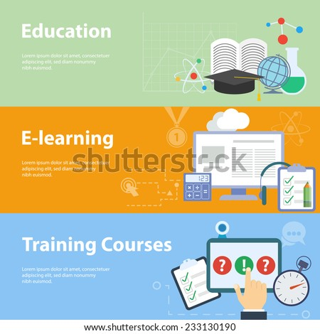 Flat vector concepts for education. Concepts for online tutorials, training courses, research, university, distance education. - stock vector