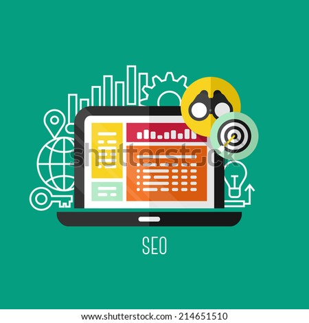 Flat vector concepts of search engine optimization (SEO). Creative design elements for websites, mobile apps and printed materials - stock vector