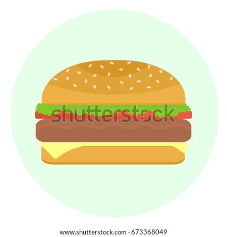 flat vector delicious hamburger pattycake tomato stock vector