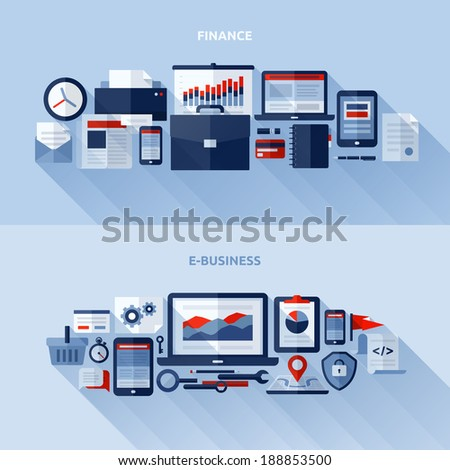 Flat vector design elements of finance and e-business - stock vector
