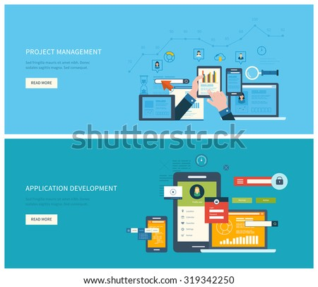 Flat vector design illustration concept for project management and application development. Concept to building successful business - stock vector