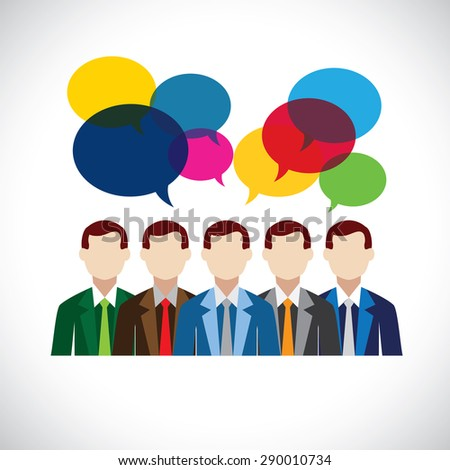 flat vector design of employees or executives in meeting. this vector also represents company meetings, discussions and opinions, employee interaction & engagement - stock vector