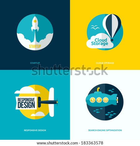 Flat vector design of the startup process, cloud storage, responsive web design and SEO with rocket, hot air balloon, plane and submarine - stock vector