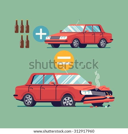 Flat vector design on drink and drive | Alcohol influenced driving causes car crash | Before and after car driving while impaired by alcohol - stock vector