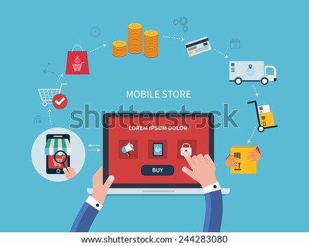 Flat vector design with e-commerce and online shopping icons and elements for mobile story. Symbols of online shop, online payment, customer service and delivery - stock vector