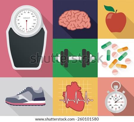 Flat vector diet and sport set - stock vector