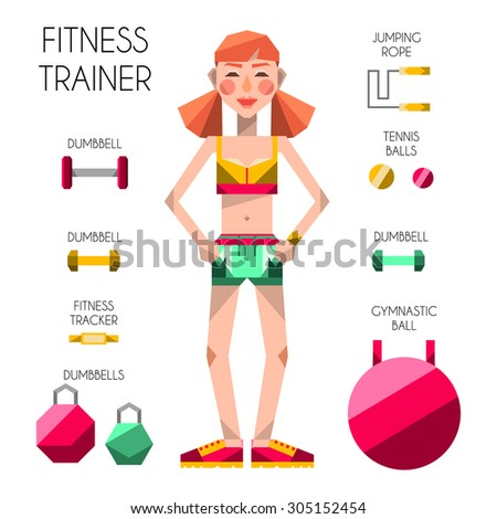 flat vector fitness sport female trainer body health care infographic elements  - stock vector