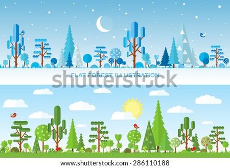 Flat vector forest illustration, winter, spring, summer - stock vector