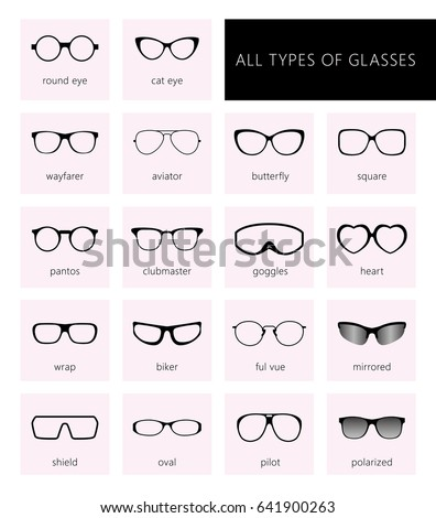 Flat vector glasses big set illustration. Collection of different of rim glasses  types - round