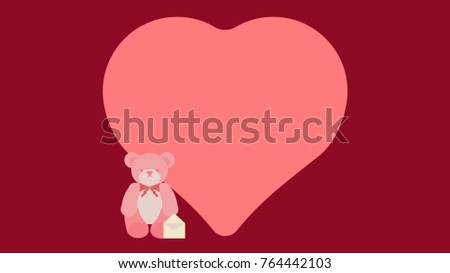 Flat Vector Graphic Valentine Card Template Stock Vector 764442103