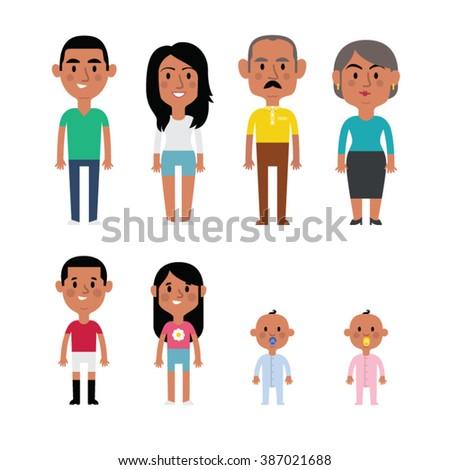 Flat vector hispanic family members. Parents, grandparents, children and baby. - stock vector